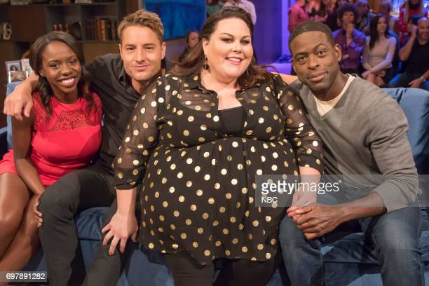 """This Is Us Game Night"""" Episode 508 -- Pictured: Contestant, Kevin Hartley, Chrissy Metz, Sterling K. Brown --"""