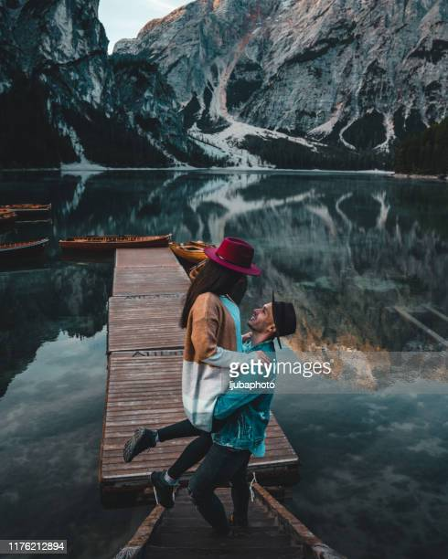 this is when they feel most free - pragser wildsee stock pictures, royalty-free photos & images