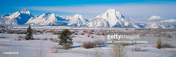 This is winter in Grand Teton National Park The Mountain peaks left to right in the photo are Teewinot Mountain Grand Teton Mt Owen Mt St John...
