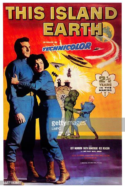 This Island Earth, poster, from left: Rex Reason, Faith Domergue, Jeff Morrow, 1955.