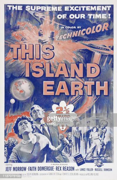 This Island Earth, poster, US poster art, left: Faith Domergue; second from left: Rex Reason, 1955.