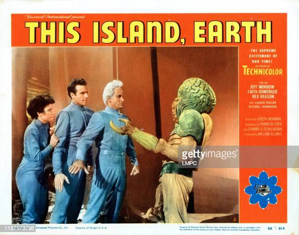 This Island Earth US lobbycard from left Faith Domergue Rex Reason Jeff Morrow 1955