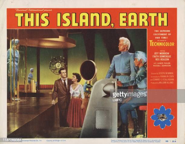 This Island Earth US lobbycard from left Rex Reason Faith Domergue Jeff Morrow 1955