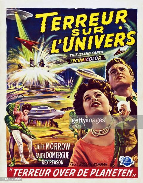 This Island poster EARTH from left Faith Domergue Jeff Morrow Rex Reason on Belgian poster art 1955