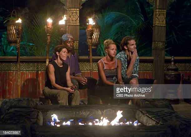 'This Isn't a 'We' Game' Denise Stapley Russell Swan Angie Layton and Malcolm Freberg of the Matsing Tribe during Tribal Council on the third episode...