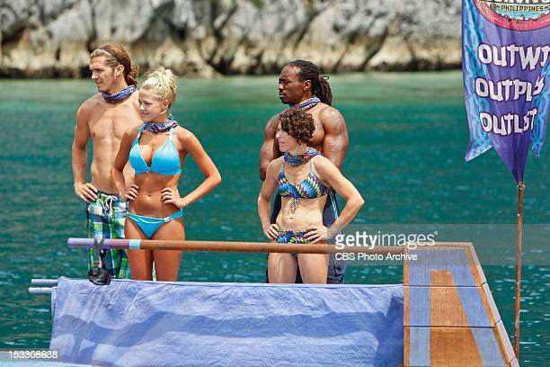 'This Isn'™t a 'We' Game' Malcolm Freberg Angie Layton Russell Swan and Denise Stapley of the Matsing Tribe during the third episode of Survivor...