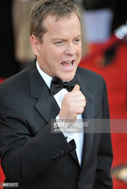 This January 25 2009 file photograph shows US actor Kiefer Sutherland arriving for the 15th Annual Screen Actors Guild Awards at the Shrine...
