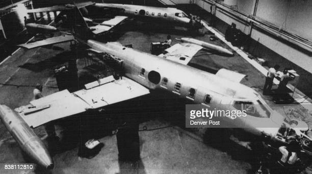 This July 25 1988 file photo shows workers nearing completion of the first Learjet built entirely in Wichita since 1985 The company consolidated...