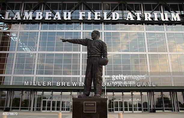 This July 26, 2008 photo shows a statue of legendary coach Curly Lambeau at Lambeau Field, home to the NFL's Green Bay Packers, in Green Bay, WI....