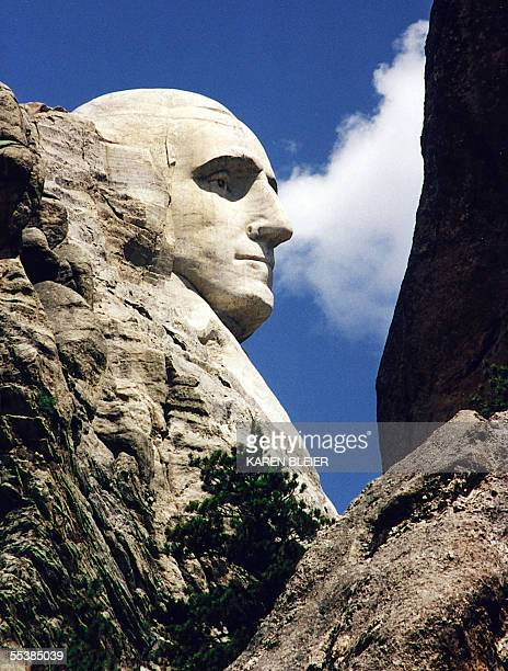 This June 1995 photo shows a close up of US President George Washington at Mt Rushmore in Keystone South Dakota Sculptor Gutzon Borglum started work...