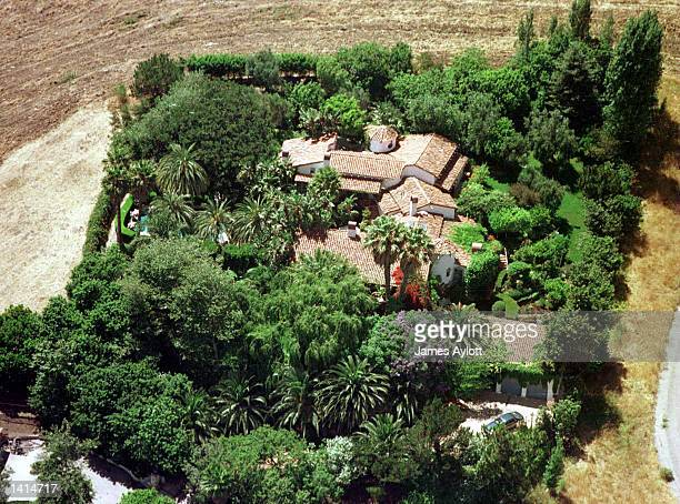 This June 2, 1997 aerial photograph shows the Spanish-style mansion of James Bond star Pierce Brosnan in Malibu, California. Brosnan''s 13 year-old...