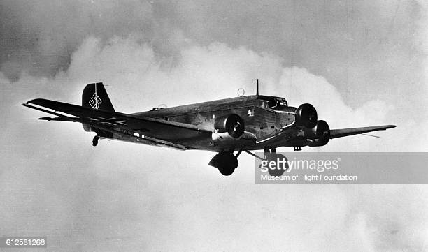 This Junkers JU52/3M is being used by the German Air Force for military transport during World War II