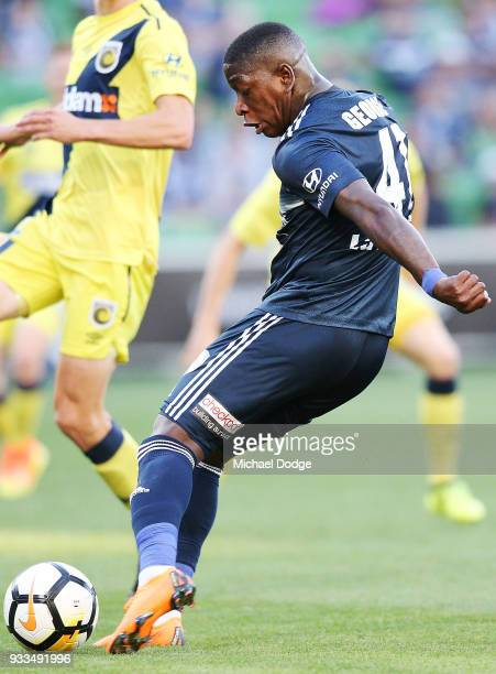 This kick at goal by Leroy George of the Victory broke the netting of the goals during the round 23 ALeague match between the Melbourne Victory and...