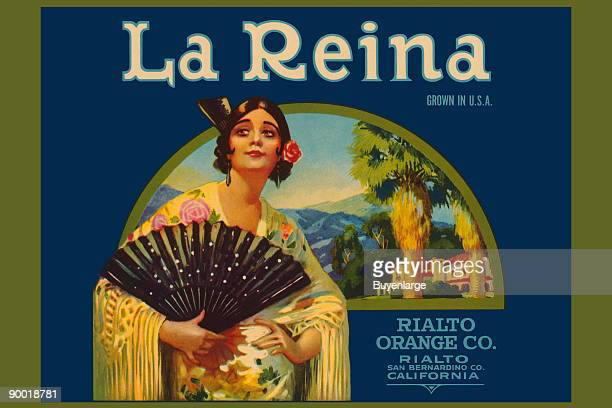 This label features a Spanish maiden and fan. It was made for the Rialto Orange company in San Bernadino, California to be placed on their crates of...
