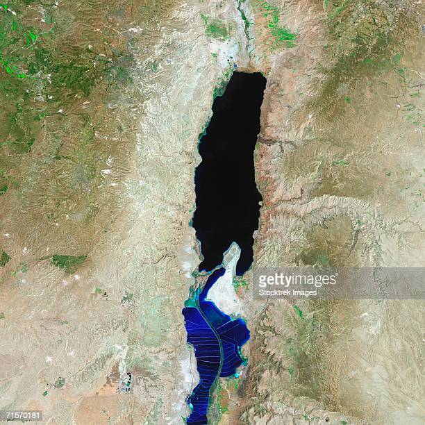 """this landsat 7 satellite image shows the entire extent of the modern dead sea on august 7, 1999."" - landrat stock pictures, royalty-free photos & images"