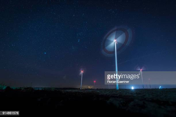 This long exposure shows rotating wind turbines at night on February 05 2018 in Cottbus Deutschland