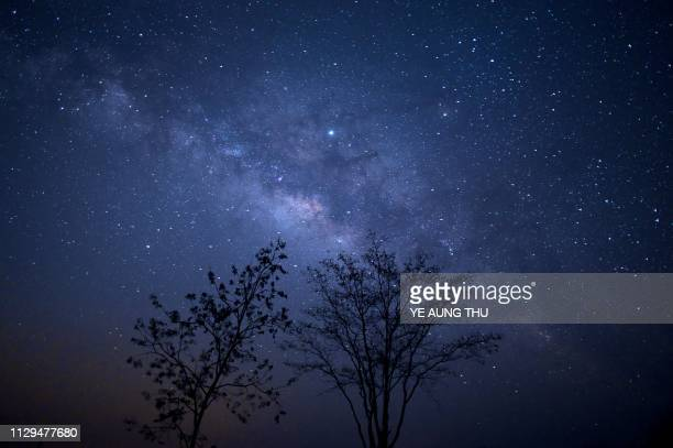 This long-exposure photograph shows the Milky Way in the sky above Taungdwingyi, nearly 100km from Naypyidaw, on early March 10, 2019.