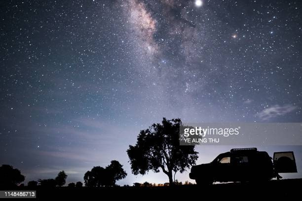 TOPSHOT This longexposure photograph shows the Milky Way in the sky above Mandalay central Myanmar early on June 8 2019
