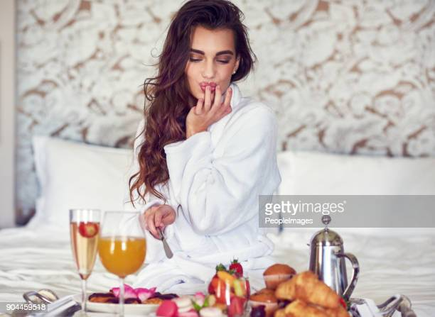 this looks good - breakfast in bed stock pictures, royalty-free photos & images