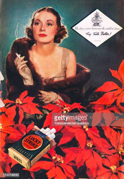 This magazine ad for Lucky Strike cigarettes is produced around 1930 in New York City
