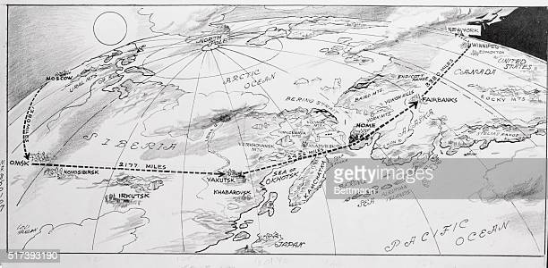 This map drawn by Daily Mirror staff artist shows the dangerous stretch of terrain covered by the Howard Hughes roundtheworld flight on their hop...