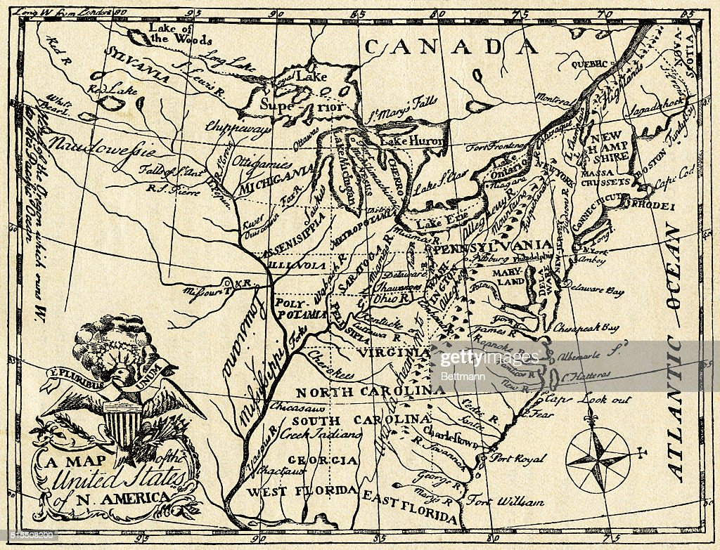 Map Of The Early United States Pictures Getty Images - Map of us in 1787