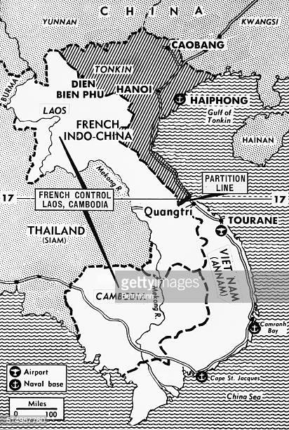 This map shows the 17th parallel approximately the demarcation line between North and south Viet Nam under the newly signed IndoChina Truce Agreement...