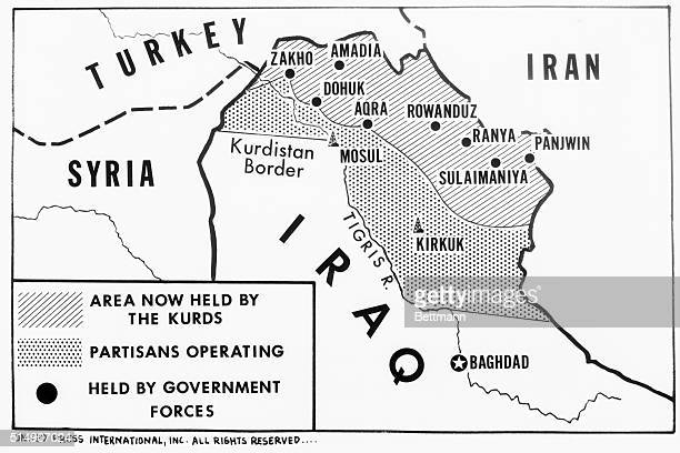 This map shows the area claimed by Kurdish rebels in northeastern Iraq and the extensive area where Kurdish partisans are operating.