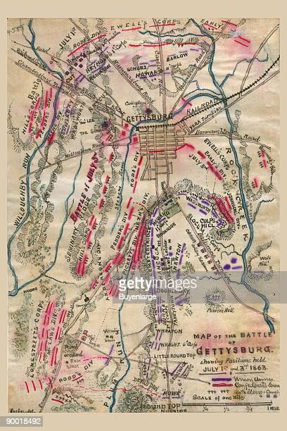 """This map shows the disposition of troops on this second day of the battle. The designation """"5 p.m."""" appears slightly to the left of the title. As the..."""