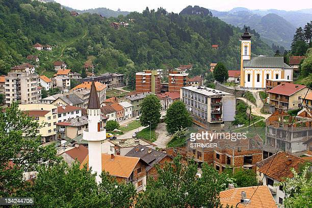 This March 2005 file photo shows a general view of the eastern Bosnian town of Srebrenica with its mosque and Orthodox church Ten years after the...