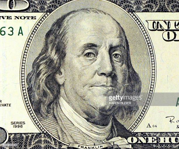 This March 29 2009 photo illustration shows Benjamin Franklin on the front of the USD 100 note in Washington DC AFP PHOTO/Karen BLEIER