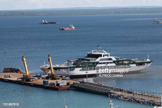 This March 29, 2021 general view shows the Sea Star 1, owned by the Tanzanian Zan Ferries, docked at the port in Pemba. The Sea Star has been used to...