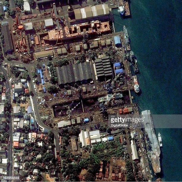 This March 7 image provides an overview of Cochin Shipyard As reported the Viraat is out of the dry dock and is moored alongside the shipyard in...