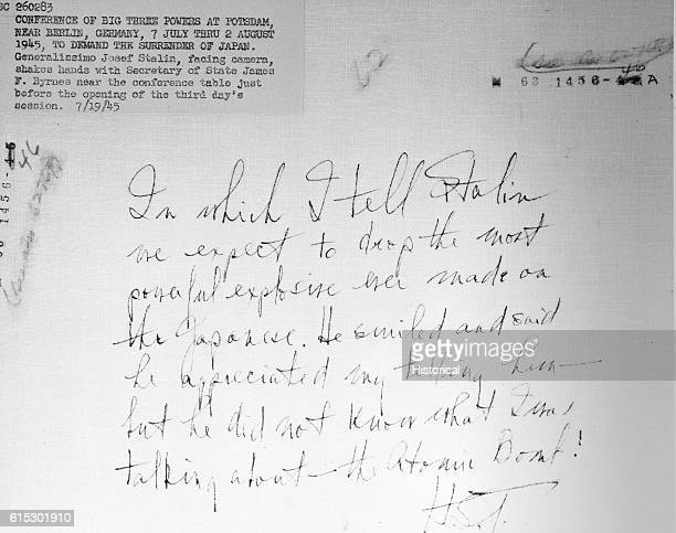 This message details Truman telling Stalin about the atom bomb dropped on Japan