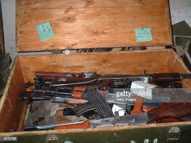 This military handout shows a cache of Iraqi AK-47 assault rifles were reportedly found in a hospital March 25, 2003 in An Nasiriyah, Iraq. The U.S....
