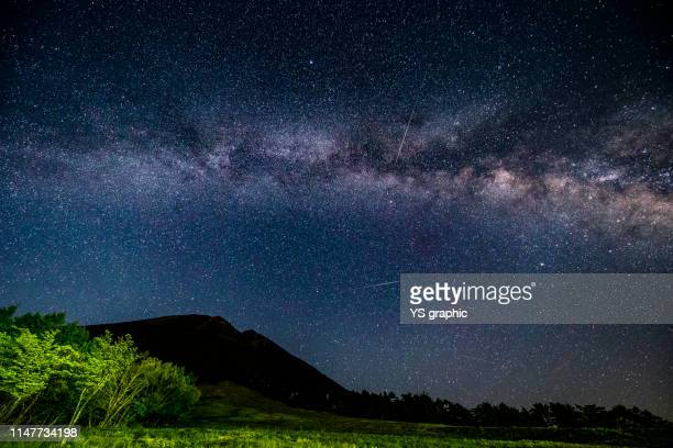 this milky way was taken by mt. daisen in tottori prefecture, japan. with a lot of shooting stars. - 鳥取県 無人 ストックフォトと画像