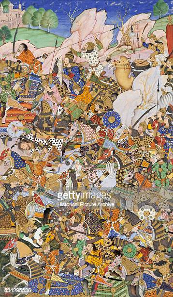 'This miniature painting is an illustration to a version of Akbarnama It depicts the Battle prior to the capture of the Fort at Bundi Rajasthan in...