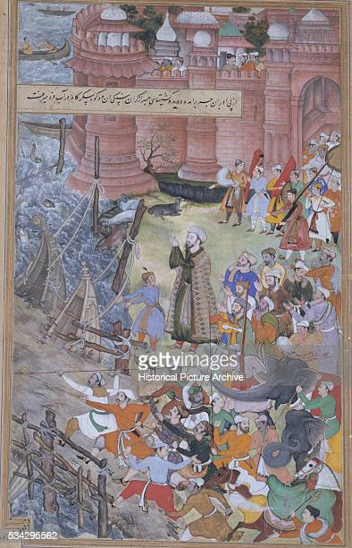 This miniature painting is part of the first version of Akbarnama written by Abul Fazl Located in Victoria and Albert Museum