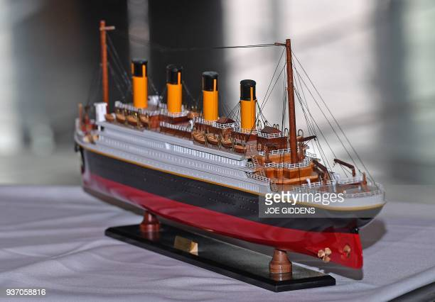 This model of the Titanic presented was presented to Britain's Prince Harry and Prince Harry's fiancee US actress Meghan Markle during a visit to the...