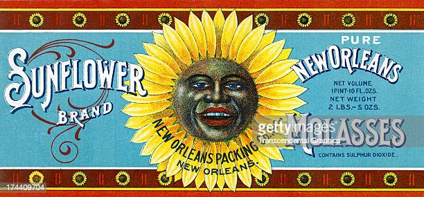 This molasses label with the face of an AfricanAmerican is produced around 1930 in New Orleans Louisiana