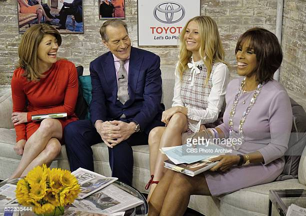 This Morning anchors Norah O'Donnell Charlie Rose and Gayle King talk with Gwyneth Paltrow during Wednesday's 4/13/16 show in New York