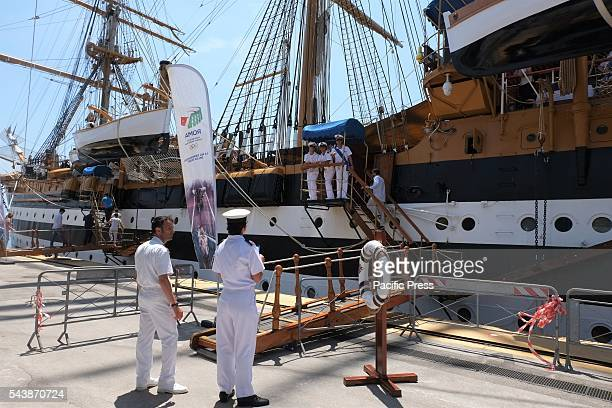 VESPUCCI NAPOLI CAMPANIA / NAPOLI ITALY This morning at the port of Naples there was a press conference on the training ship of the Italian Navy...