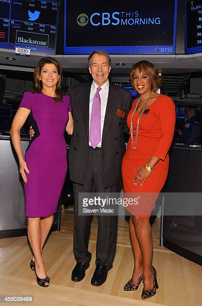 'CBS This Morning' cohosts Norah O'Donnell Charlie Rose and Gayle King visit the New York Stock Exchange on December 10 2013 in New York City