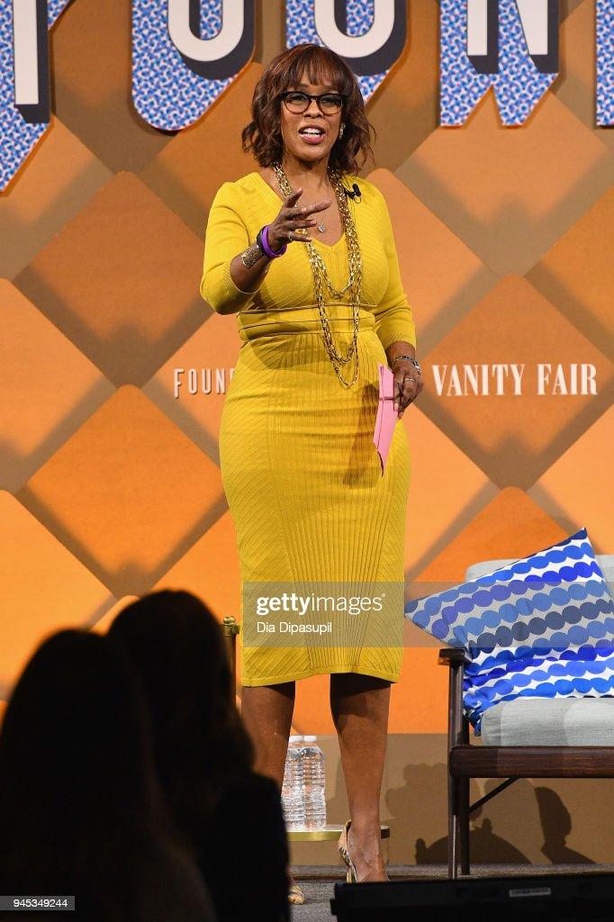 'CBS This Morning' host Gayle King speaks onstage during Vanity Fair's Founders Fair at Spring Studios on April 12, 2018 in New York City.
