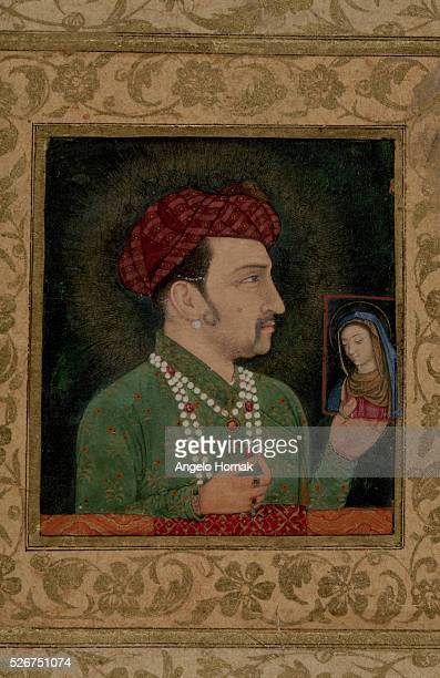 This Mughal portrait shows the Emperor Jahangir the fourth emperor of the Mughal dynasty holding a picture of the Madonna