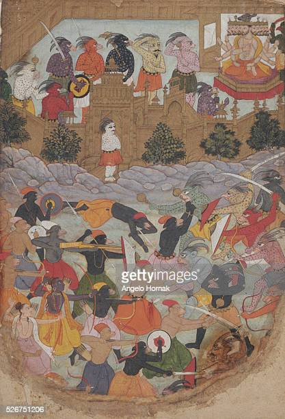 This Mughal style illustration from an Islamic book depicts the siege of Lanka from the Ramayana and the fighting between the demons and the monkeys...