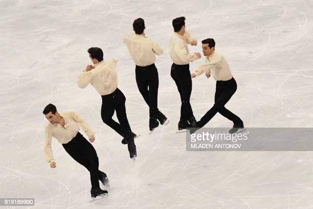 TOPSHOT This multiple exposure image shows Spain's Javier Fernandez competing in the men's single skating free skating of the figure skating event...