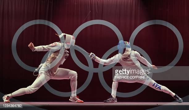 This multiple exposure picture show Italy's Daniele Garozzo compete against Egypt's Alaaeldin Abouelkassem in the mens team foil classification 5 - 8...