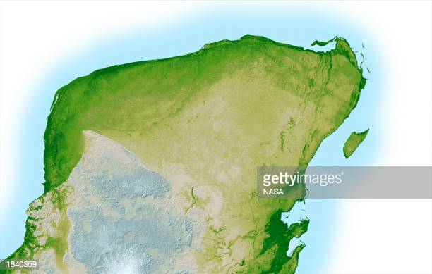 This NASA handout image is a high resolution topographic map of the Yucatan Peninsula created with data collected in the Shuttle Radar Topography...