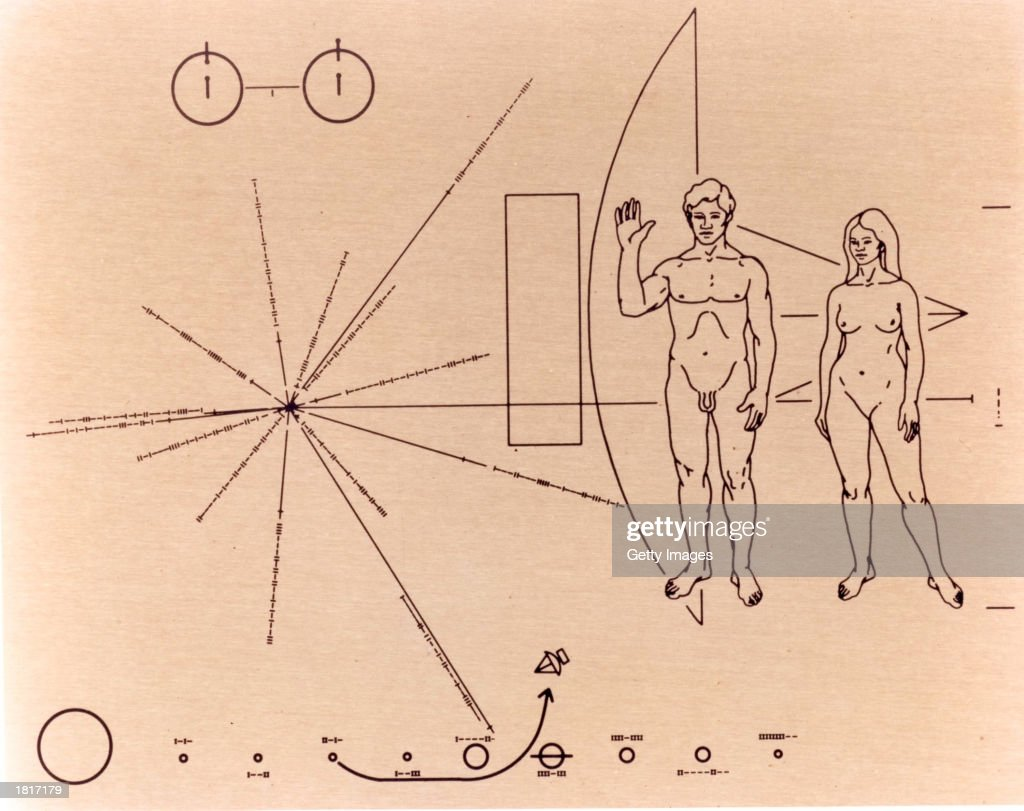 This NASA handout image shows the gold-anodized aluminum plaque that was attached to the Pioneer 10 spacecraft before it was launched into space on March 2, 1972. NASA Scientists say that on January 22, 2003 they received the final signal from the Pioneer 10 spacecraft, which is now 7.5 billion miles from Earth. Pioneer 10 outlasted its original 21-month mission and continued to send back data for almost 31 years. Scientists Carl and Linda Sagan and Frank Drake designed the plaque that was attached to Pioneer 10 to communicate with extraterrestrial beings.
